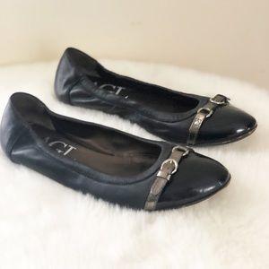 AGL Black Leather Flats Sz 42 Sz 12 GUC